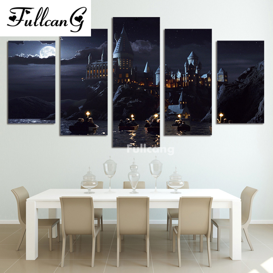 FULLCANG diy diamond painting 5 pcs full diamond embroidery night castle scenery square mosaic embroidery with