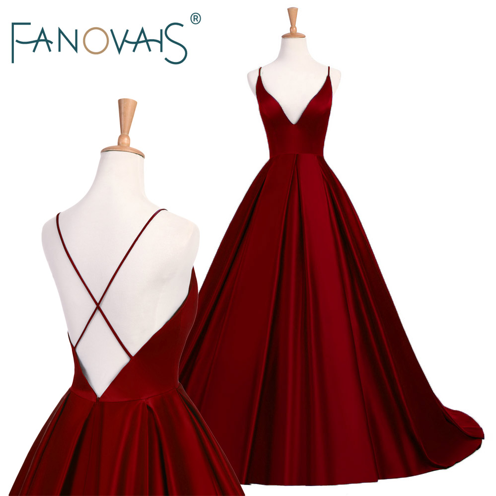 2019 Simple Royal Blue Prom Dresses Satin Spaghetti Burgundy Evening Gowns Cross Back Sexy formal party