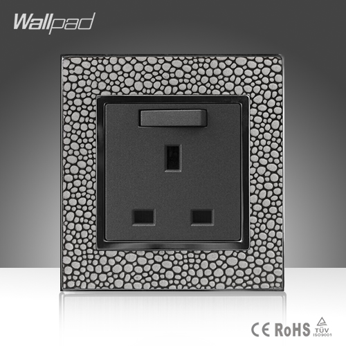 CE BS Approved Wallpad Luxury Grey Leather Plate 110V-250V Hotel British UK Standard 13A Switch Socket Outlet ,Free Shipping  цены