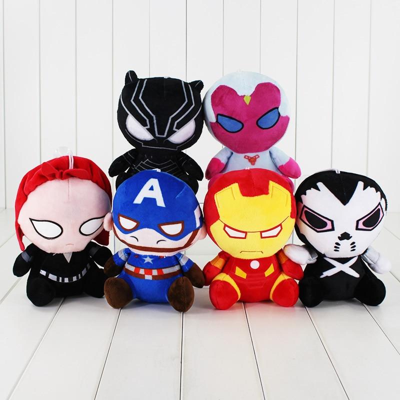 6Styles The Iron Man Captain America X-man Batman Black Widow Superman Black Panther Soft Plush Toy Stuffed Pendant Cute Doll
