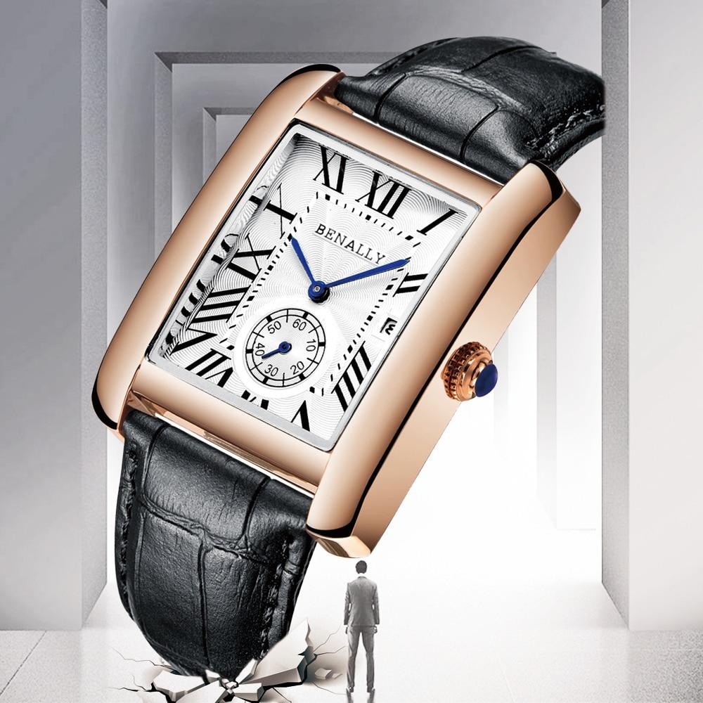 Luxury Brand Square Men WristWatches Unique Design Rose Gold Calendar Stop Watch Genuine Leather Quartz Business Watch for Man