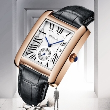 Luxury Brand Square Men WristWatches Unique Design Rose Gold Calendar Stop Watch
