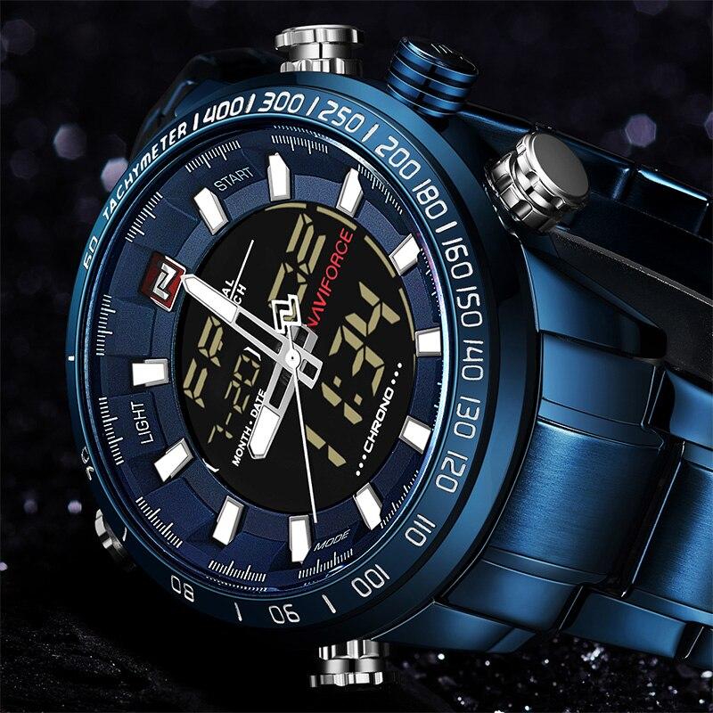 NAVIFORCE 9093 Chrono Sport Montre de Luxe Hommes Marque Militaire Étanche EL Rétro-Éclairage Numérique Poignet montres Hommes Chronomètre Horloge