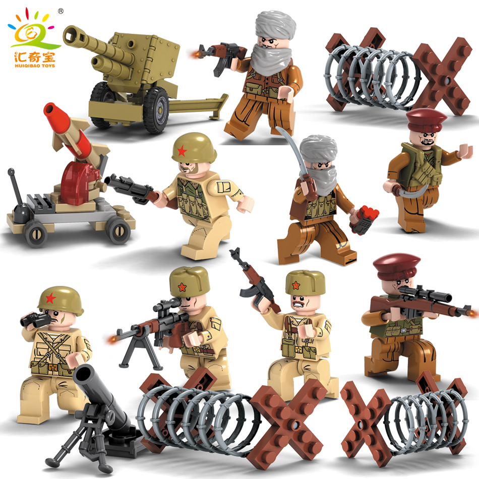 8PCS Military Soldiers Sets With Weapons Guns WW2 War Army Building Blocks Brick toys Compatible Legoed City Gifts For Children military city police swat team army soldiers with weapons ww2 building blocks toys for children gift