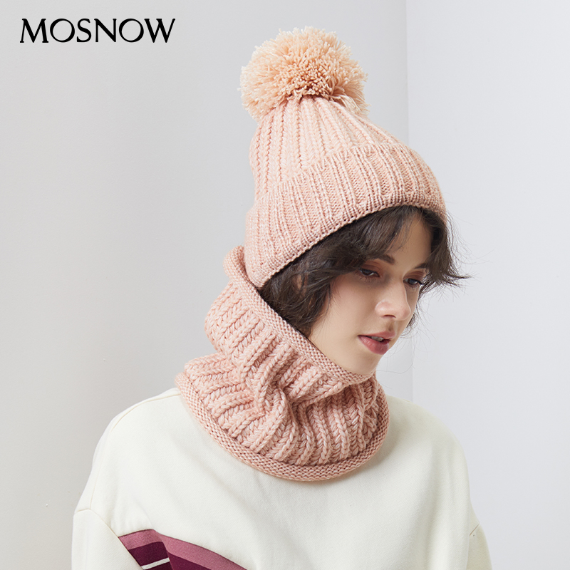 2 Pieces Set Winter Pompon Beanie Hats Scarf For Women Knitted Cotton Warm Scarf Thick Cap Multi Functional Skullies Beanies