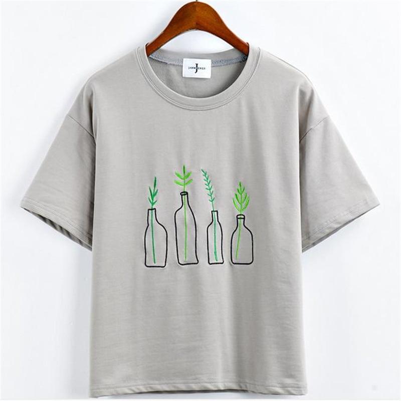 2565d6e007e Vrolijk Mooie Nieuwe Zomer Koreaanse Stijl Vrouwen T Shirt Harajuku Fles  Planten Patroon Kawaii Borduren Katoen Tee Shirt Leuke Tops in Vrolijk  Mooie ...
