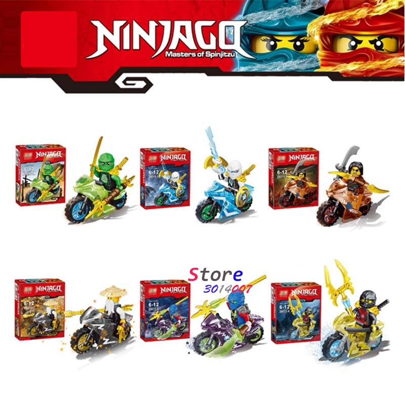 6pcs star wars superhero Ninja Motorcycle Collection Kai Cole Jay Lloyd Nya Zane building blocks model bricks toys for children 2017 new single ninja movie nadakhan dogshank kai jay cole zane nya lloyd building brick toys x0112 x0118