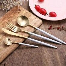 JANKNG 4 Pcs/Lot White Handle Gold Stainless Steel Flatware Set Luxury Cutlery Set Matte Knife Fork Spoon Dinnerware Tableware