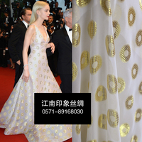 The Ring 100% SILK Burnt out gauze Fabric Gold and Silver Silk Line Hand Carving Printing Powder Cut Cloth Skirt