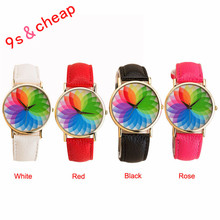 Summer New Product Woman Seven Color Lotus Leather Watch Quartz Watch Free Shipping #130717