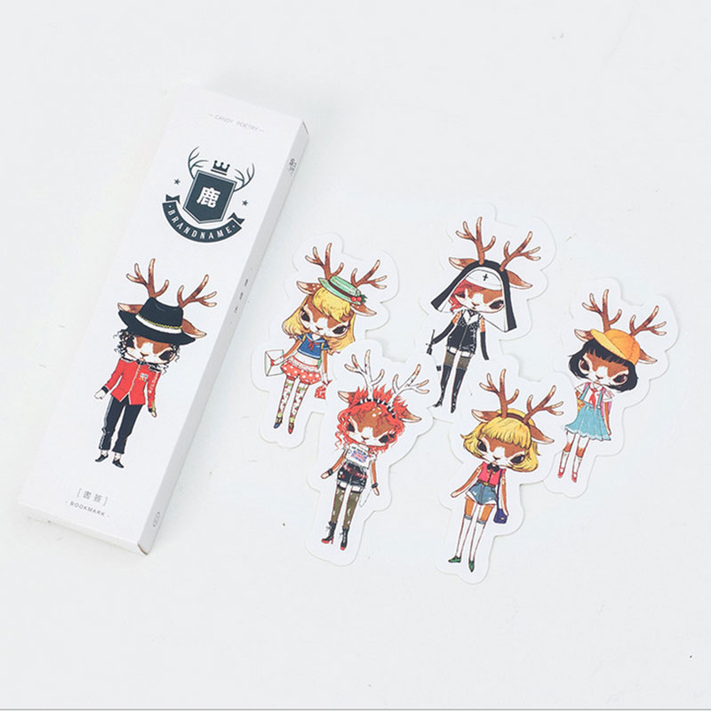 30pcs/box New Product Kawaii Moose Girl Student Bookmarks Stationery Gift Realistic Cartoon Bookmarks Office School Supply
