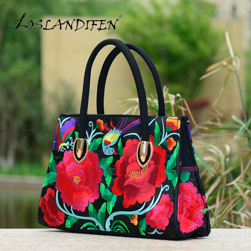 chinese national style blue embroidery handbag women tote canvas embroidered peony red shoulder bag woman purple crossbody bags