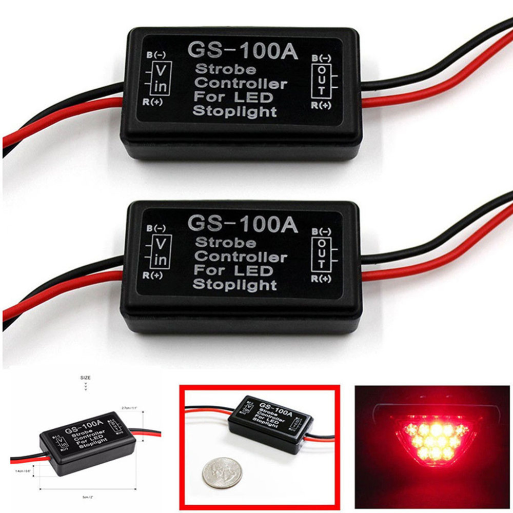 Miumiu 2PCS/Lot Car Motorcycle Flash Strobe Controller Flasher Module for LED Brake Light Tail Stop Lights 12-24V Universal wireless remote strobe control module universal for led stoplight drl flash controller for car back up fog light 16 patterns