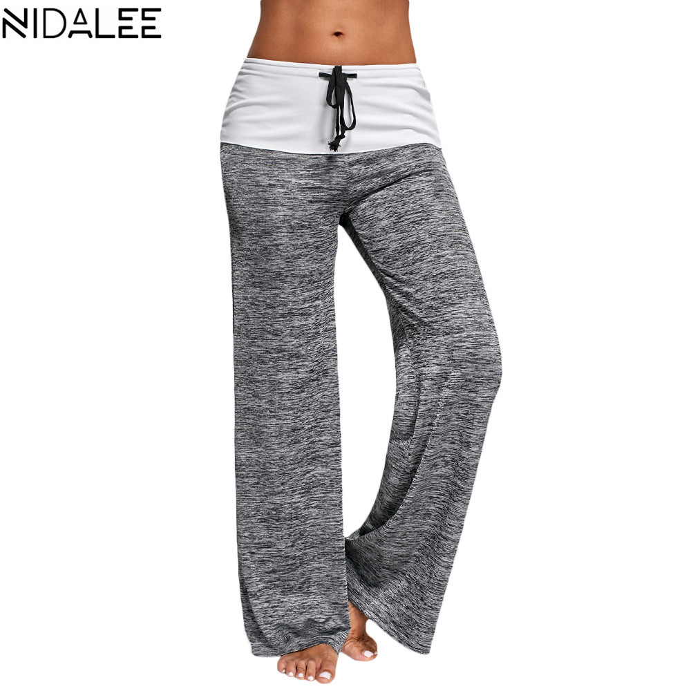 NIDALEE Yoga Pants Women Running Jogging Fitness Leggings Fold Over Waist Wide Leg Trousers Workout Fitted Athletic Pants XXL