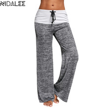 ФОТО NIDALEE Yoga Pants Women Running Jogging Fitness Leggings Fold Over Waist Wide Leg Trousers Workout Fitted Athletic Pants XXL