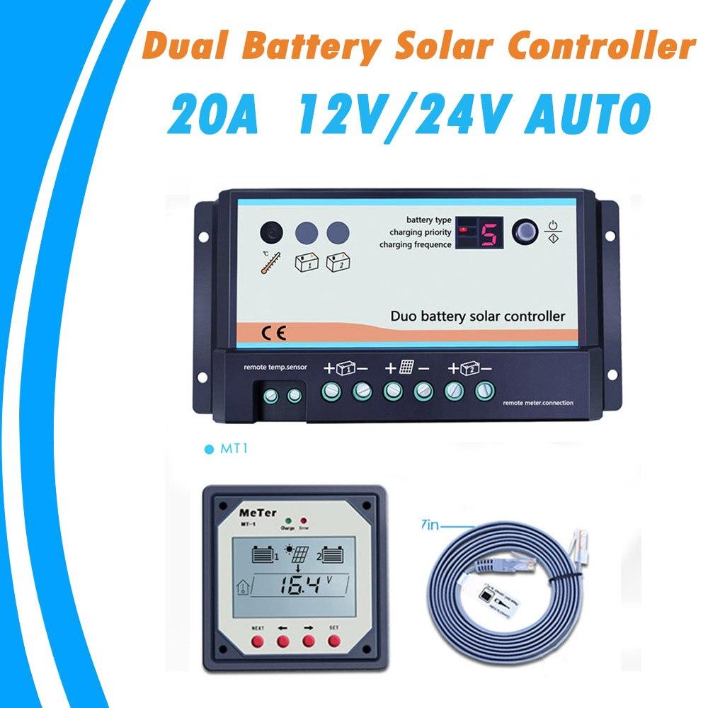 20A daul batterie Chargeur Solaire Contrôleur duo-charge de la batterie contrôleur avec Télécommande LCD Mètre MT-1 mètre-1 pour RVs Bateau Bus De Golf
