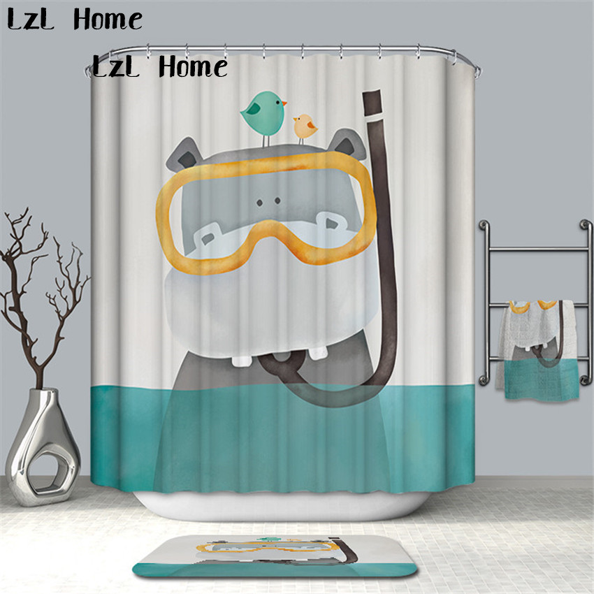 LzL Home High Quality Finished Funny Animal Shower Curtain Waterproof Bath Curtain For Bathroom Products Eco-friendly Curtain zwbra shower curtain