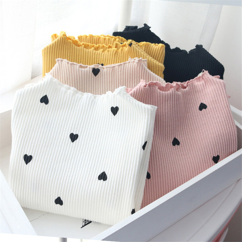 2020  New Winter Baby Girls Long-sleeved O-necked Love Heart Bottoming Shirt Cotton Children's Long-sleeved Lover Heart Sweater
