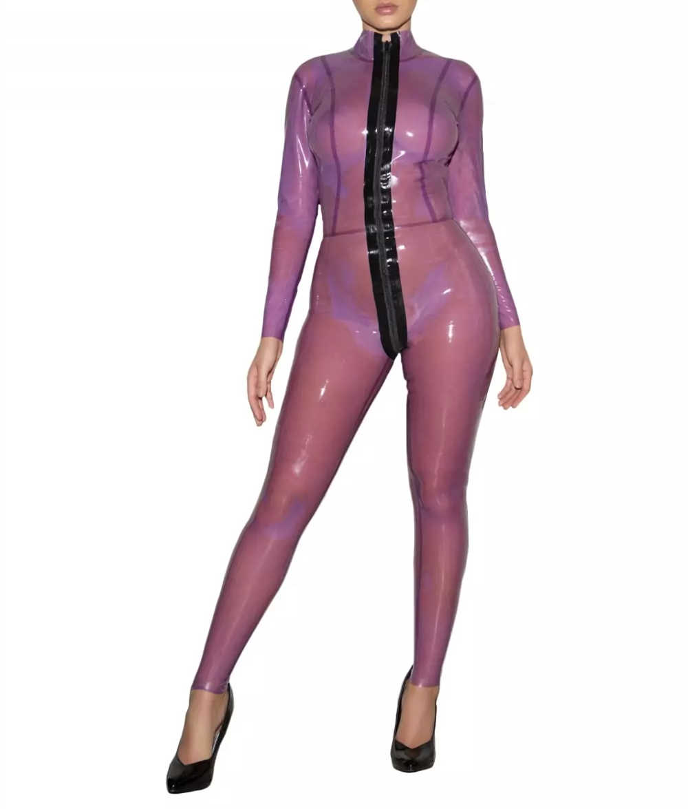 Transparent Purple Tight Latex Catsuit Sexy Latex Bodysuit Front Zip Trought Crotch