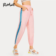 ROMWE Pink Colorblock Stripe Side Mid Drawstring Waist Casual Crop Sweatpants Woman Summer Cut And Sew Pocket Sport Pants(China)