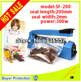 Free shipping film impulse sealer,manual impulse sealing machine ,aluminum plastic bag Impulse Heat Sealer 200mm Electric SF-200 portable impulse bag sealer 110v 300w heat sealing impulse manual sealer machine poly tubing plastic bag household tools hot