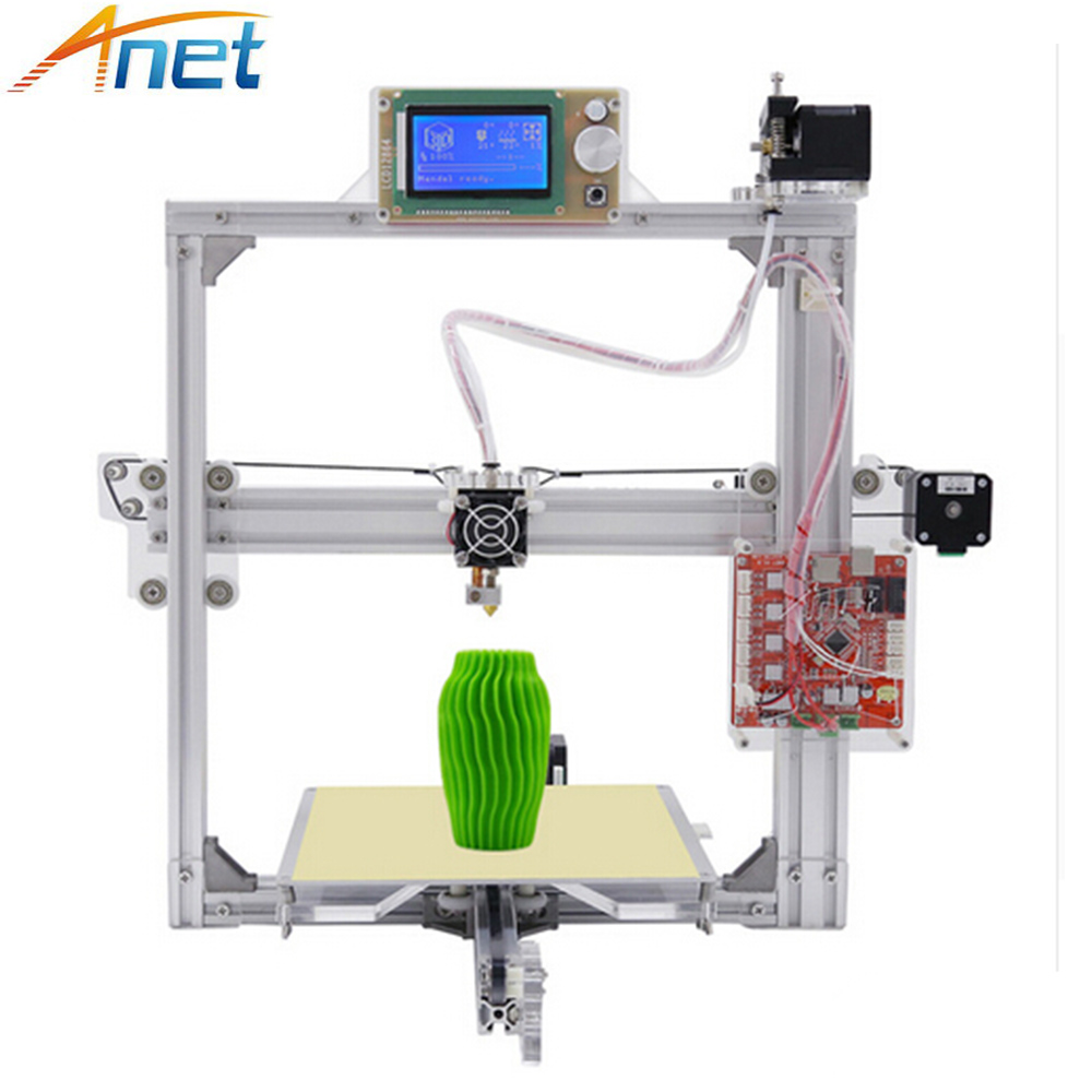 Anet A2 Metal Aluminium 3D Printer High Precision Big Size Reprap Prusa i3 DIY 3D Printer LCD2004 Screen with Filaments SD Card anet upgraded a6 high quality desktop 3dprinter prusa i3 precision with roll kit diy assemble filament 16gb sd card lcd screen