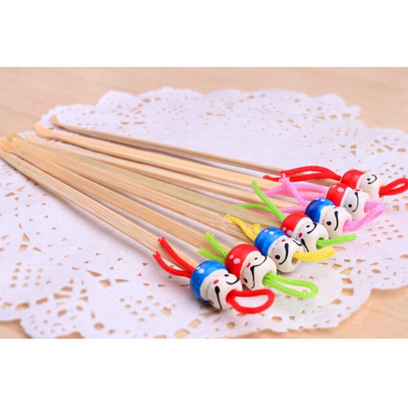Minicabezal de madera de bambú para orejas, herramienta de cuidado de oído hecha a mano, removedor de cera, Color aleatorio, 5/10 Uds.