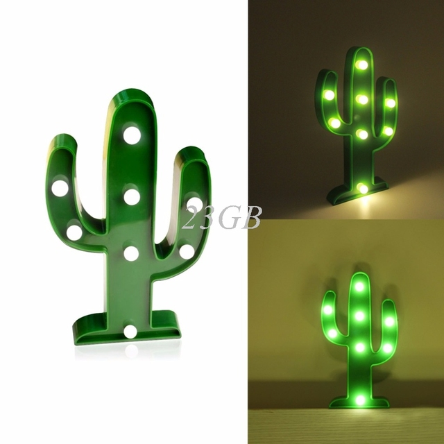 2017 NEW 3D Marquee Lamp With 8LED Battery Operated Night Light Warm-White Cactus APR28_20