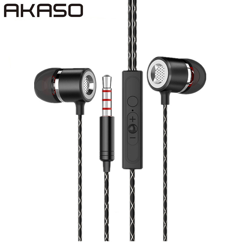 AKASO S1 Metal Earphones with Microphone Super Bass Headset Earbuds In-ear Earphone headphone for phone Xiaomi iphone audifonos new diy ie801 earphone super bass headset 3 5mm in ear hifi stereo earbuds metal earphones for iphone samsung phone earphones