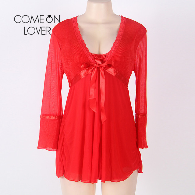 Comeonlover Wholesale Sexy Plus Size Lingerie Femme Porno High Quality Soft Nightgown Top +G string+Coat Sexy Pajamas RI80185 4