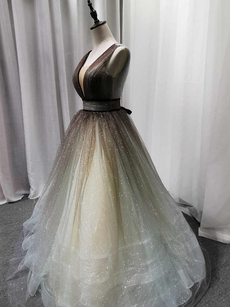 SSYFashion חדש יוקרה שמלת ערב בלינג הניצוץ ארוך שמלה לנשף ללא שרוולים באורך רצפת מסיבת פורמליות כדור שמלת Robe De Soiree