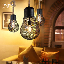 American Antique Dandelion Chandelier Creative Bar Restaurant Bedroom Coffee Shop Net Pendant Lamp Iron Chandelier Lighting(China)