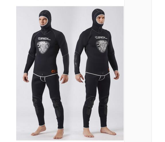 SLINX 5MM Two-piece Diving Suit Long Sleeve Mergulho Full Body Warmth Sunblock Surf Wetsuit with Headgear Men's Sportswear 1301 mylegend men 3mm diving suit long wetsuit diving suit sleeve full body sunblock wetsuit for underwater sport wetsuit