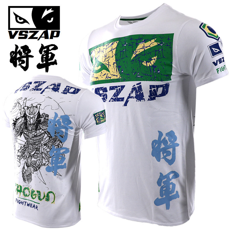 VSZAP Shogun T-shirts Samurai Fitness MMA Men Short Sleeve T-Shirt Casual Fighting Muay Thai Fightwear UFC Sanda Sporting
