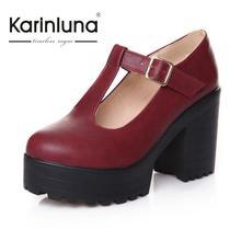 KarinLunaสไตล์สตรีรอบนิ้วเท้าเสื้อสายคล้องโรมันหนาแพลตฟอร์มส้นสูงปั๊มขนาดใหญ่34-43ชุดลำลองรองเท้าผู้หญิง