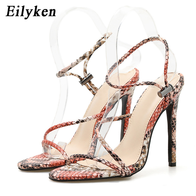 Eilyken 2019 nueva moda de verano sandalias serpentinas tacones altos de Punta abierta mujeres tacones finos sandalias de gladiador zapatos de fiesta