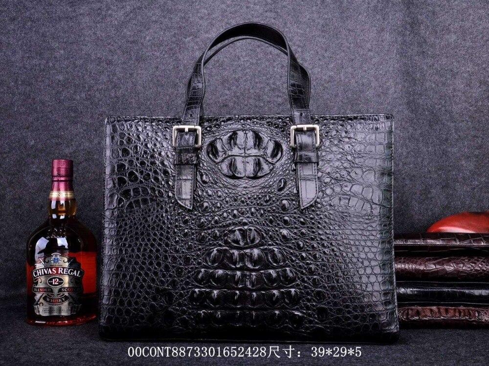 100% Genuine Alligator Skin Men Business Bag Big Discount Sales Promotion, Crocodile Leather Skin Briefcase Men Laptop Bag