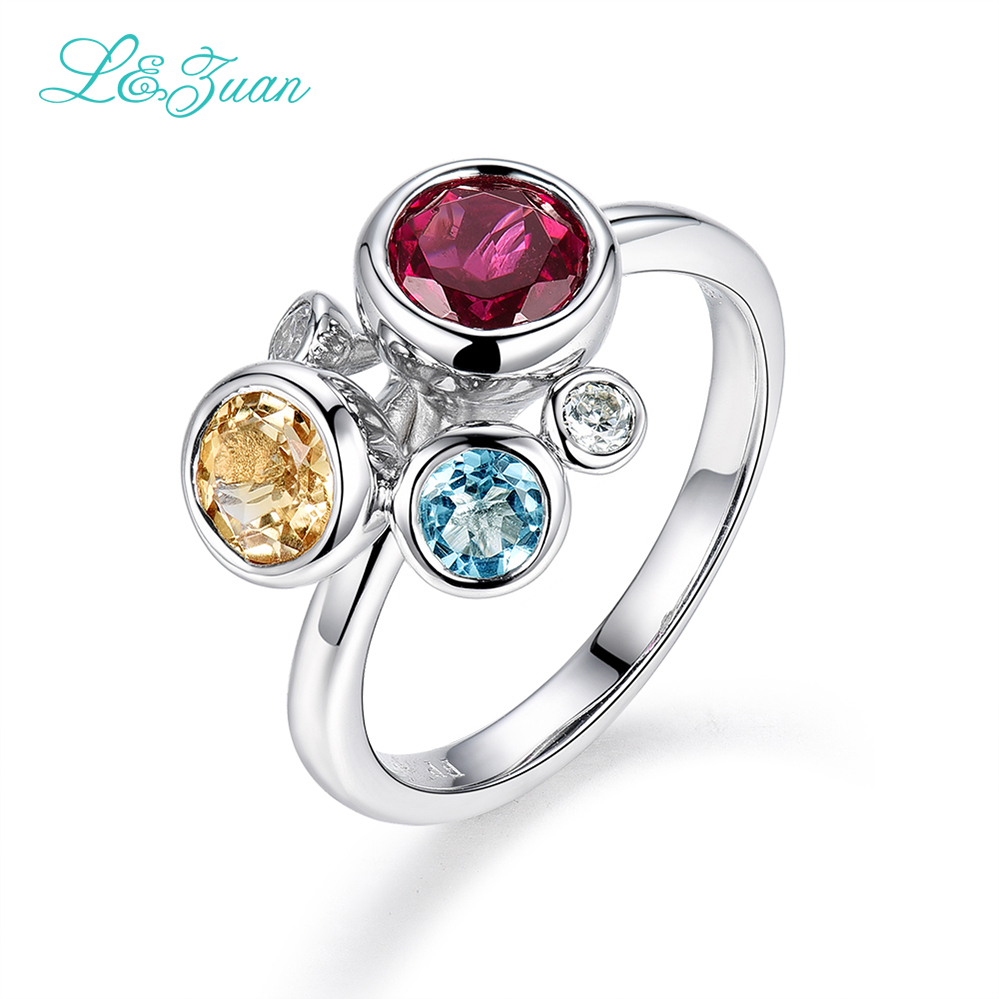 I&zuan 925 Sterling Silver Jewelry Ring Natural Garnet Red Stone Rings For  Women 4 Colors Topaz Diamond Ring Fine Jewelry 1070