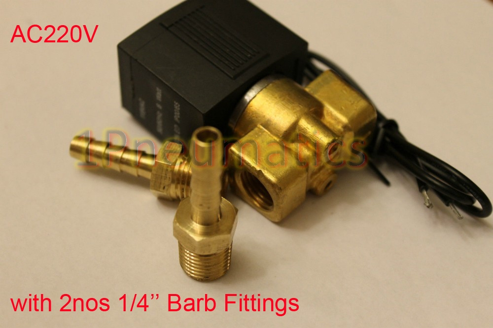 Free Shipping AC220V 1/4 Electric Solenoid Valve Air Water Valve VX2120-08 2 Way Position NC with Brass BARB Fittings free shipping 5pcs dc24v 1 2 water solenoid valve nc brass alloy valve body