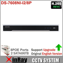 Original Overseas DS-7608NI-I2/8P for HD IP camera up to 12MP recording Support H.265/H.264/MPEG4 video formats with 8 POE