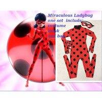 Girls Halloween The Miraculous Ladybug Costume Halloween Party Cosplay Ladybug Marinette Full Body Zentai Jumpsuit For