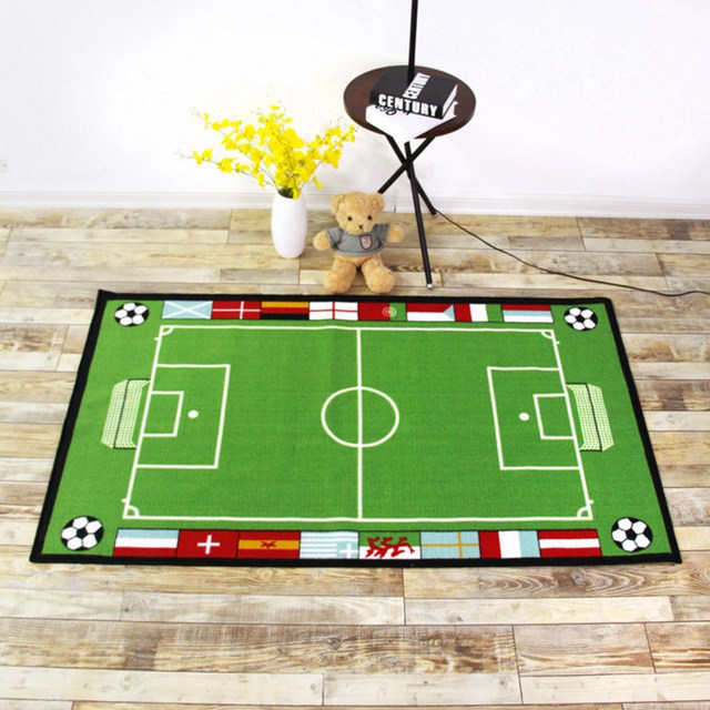 Rubber Back Football Field /Baseball/Basketball Carpet And Rugs For Boys  Room Rug Washable Non Skid Living Room Area Rugs
