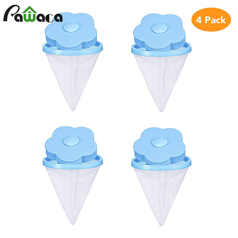 4pcs/set Floating Pet Fur Catcher Lint Filter Bag Reusable Pet Hair Catcher Remover Tool for Washing Machine Household Tools