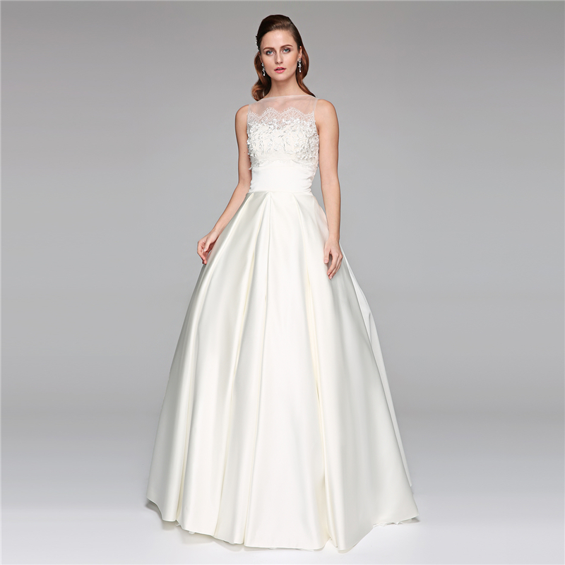 LAN TING BRIDE A-Line Princess Illusion Neckline Floor Length Wedding Dress Lace Satin Bridal Gown with Beading Appliques