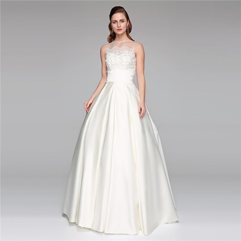 LAN TING BRIDE A-Line Princess Illusion Neckline Floor Length Wedding Dress Lace Satin B ...