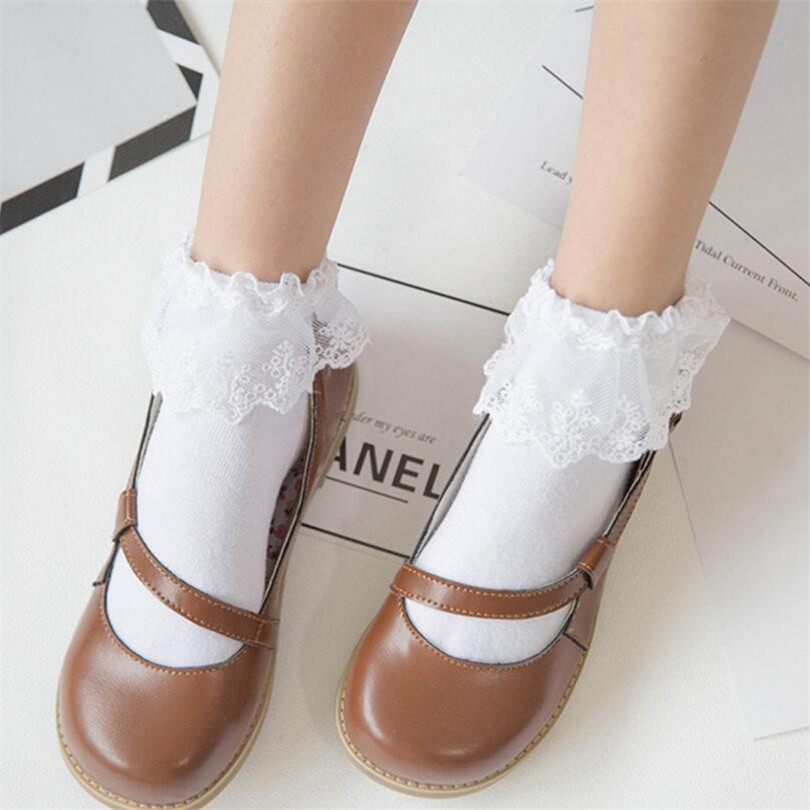 CUHAKCI Fashionable Lovely Fashion Women Vintage Lace Ruffle Frilly Ankle   Socks   Lady Princess Girl Favorite 6 Color Available