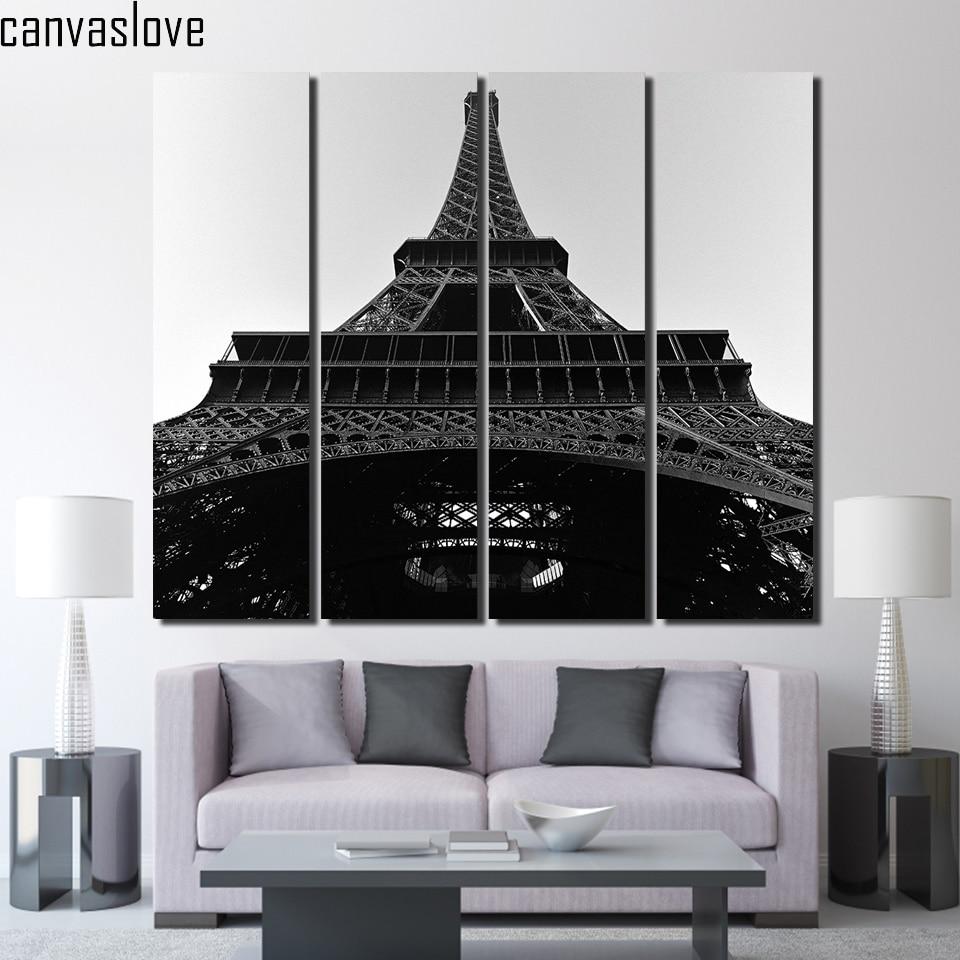 4 unidades de la lona de la torre eiffel negro y white wall art posters and