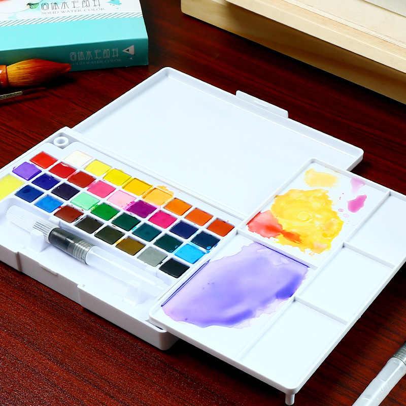 36 Warna Seni Pigmen Padat Kotak Profesional dengan Kuas Portable Set Portable Pensil Warna untuk Menggambar Cat Cat Air