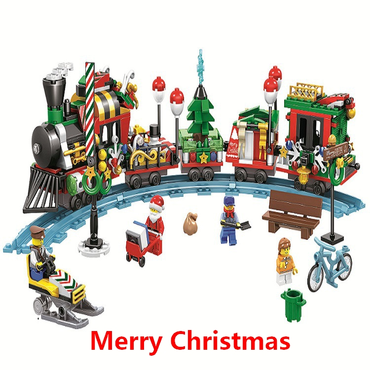 New Christmas Advent Santa Claus Train Journey Figures Building Blocks Model Kit Toys Compatible with lego Best Gifts