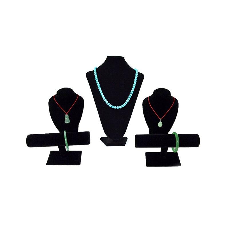 Professionnel Bijoux D'affichage Black Velvet Set Bijoux Collier de Support de Stand D'affichage Buste Bracelet T bar
